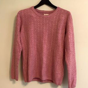 Vintage Bass pink cable knit sweater, SZ Med